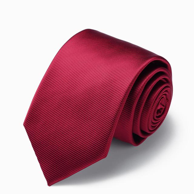 Alta Qualidade 2017 New Arrivals 8 cm de Largura Laços para Os Homens Da Marca Gravata de Casamento vinho Tinto Nobre Sarja Laços de Negócios para o Presente Terno caixa