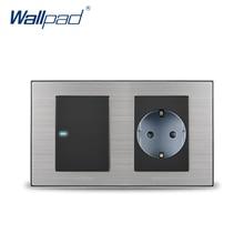 2019 Wallpad 1 Gang 2 Yollu Anahtarı Ile AB Alman Standart Schuko Soket Duvar Priz Çıkışı Saten Metal Panel LED Göstergesi