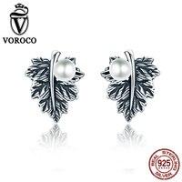 VOROCO Vintage 100 Genuine 925 Sterling Silver Leaves Maple Leaf Pearl Stud Earrings For Women Fine