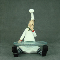 Creative Resin Chef Figurine Candy Plate Decorative Cook Statue Cake Tray Glass Tableware Ornament Gift and Craft Accessories