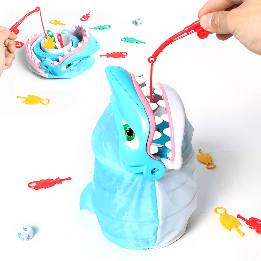Classical toy Fishing board game Happy bite shark funny toy set for children,fishing marine creatures from shark's mouth toys mr froger carcharodon megalodon model giant tooth shark sphyrna aquatic creatures wild animals zoo modeling plastic sea lift toy