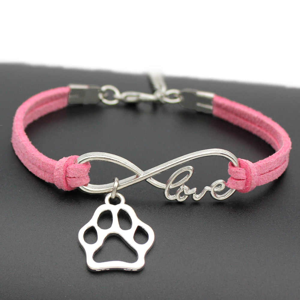 1pcs infinity handmade Women Stylish  Love Pets Dogs Lover Cat Animal Bear Paw Charms Pendant Bracelet Friendship Gift 7444