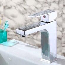 Современные Латунь Одной ручкой на одно отверстие ванной кран горячей и холодной смеситель для мойки нажмите на бортике torneira