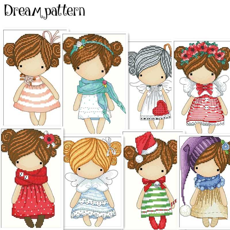 The wreath angel cross stitch package magic doll DMC linen aida 14ct 11ct flaxen cloth kit embroider DIY handmade needlework