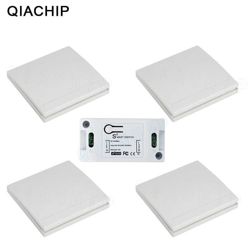 QIACHIP 433MHz AC 220V 1CH Wireless RF Fernbedienung Schalter Wireless Licht Schalter Push Button 86 Wand Panel fernbedienung Sender