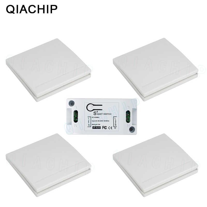 QIACHIP 433MHz AC 220V 1CH אלחוטי RF שלט רחוק מתג אלחוטי אור מתג לדחוף כפתור 86 קיר פנל מרחוק משדר