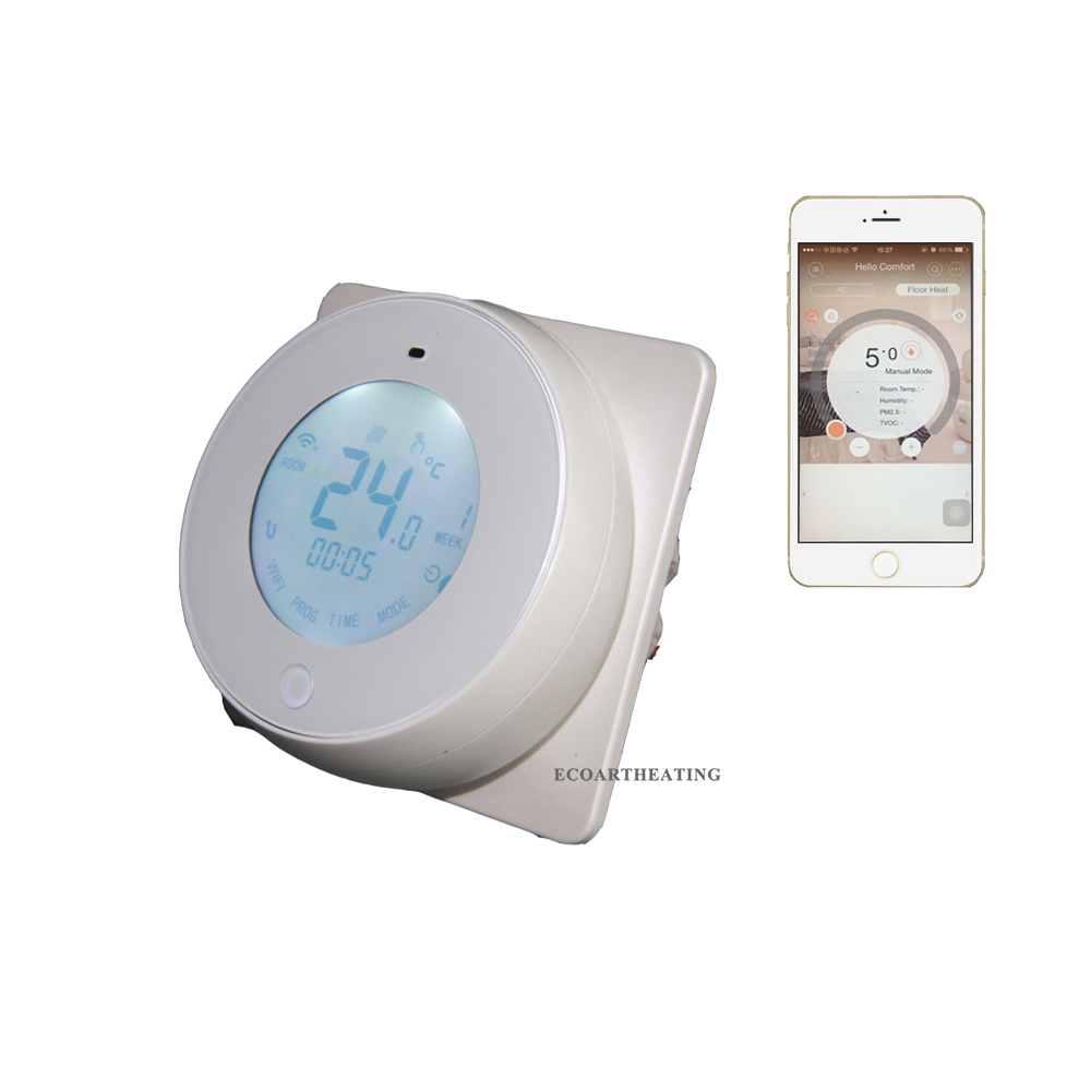 Smart Phone APP Controlled Digital WiFi Internet Thermostat for Apple IOS system touchscreen programmable wifi thermostat for 2 pipe fan coil units controlled by android and ios smart phone in home or abroad