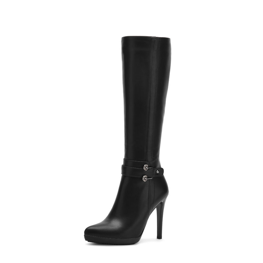 2017 NEW Sexy Women Boots Pointed Toe Short Plush Solid Black Zippers Knee-high Boots Thin High Heels Ladies Shoes 34-39 esveva 2018 women boots zippers black short plush pu lining pointed toe square high heels ankle boots ladies shoes size 34 39