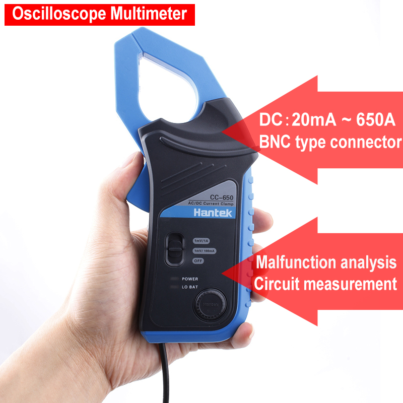 Hantek CC650 Up to 20 KHz 650A Oscilloscope Multimeter AC/DC Clamp Current Meter Protection Box