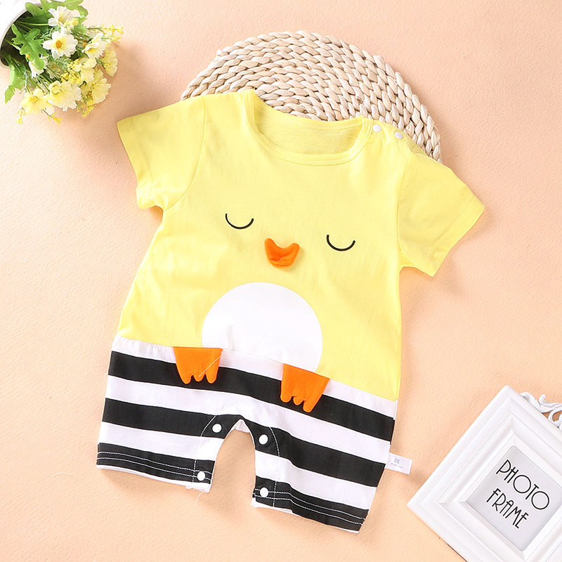 Cartoon Short Sleeve Baby romper Newborn Baby boys clothes Infant Jumpsuit Summer Baby boys clothes For 0-12M baby clothes 3pcs set newborn infant baby boy girl clothes 2017 summer short sleeve leopard floral romper bodysuit headband shoes outfits