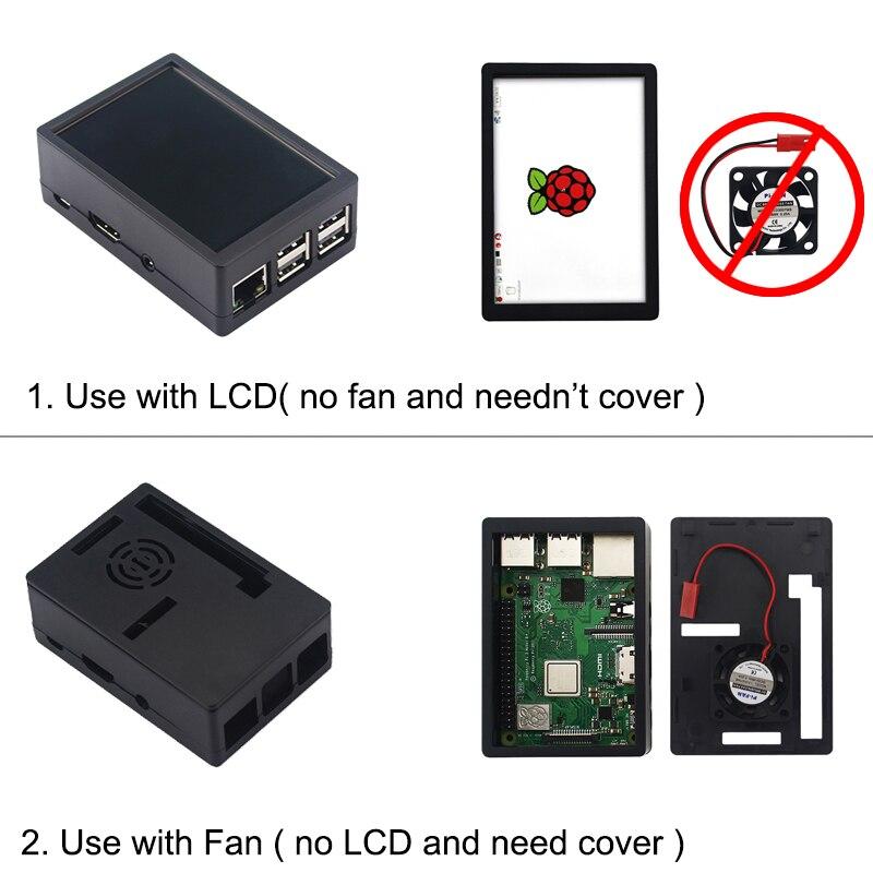 Raspberry Pi 3 Modelo B, modelo B + pantalla táctil de 3,5 pulgadas LCD + ABS + tarjeta SD de 32 GB + 3A adaptador de corriente + disipadores térmicos + HDMI para RPI 3B Plus - 4
