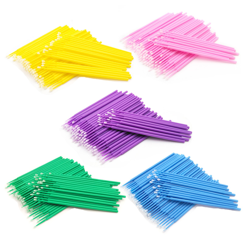 100 PCS Disposable Makeups False Eyelashes Mini Individual Lashes Applicators Mascara Brush False Eyelash Extensions Cotton Swab