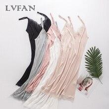Silk loose V collar lace camisole Womens Sleepwear Sexy Pajama V-Neck Pyjamas Sleeveless night dress gecelik LVFAN Y040