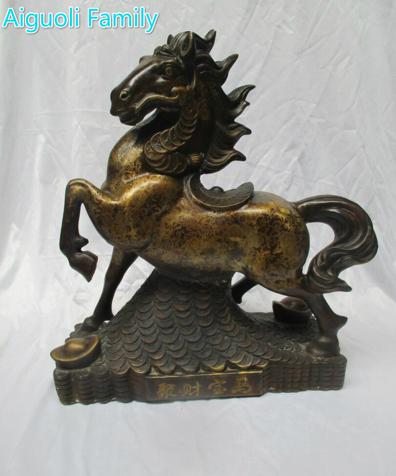 High 46CM!!! Only 1 Piece!!/ Art Collection Chinese Old Copper CarvedJu Cai Bao MaHorse Statue/Big Size Money Horse Sculpture