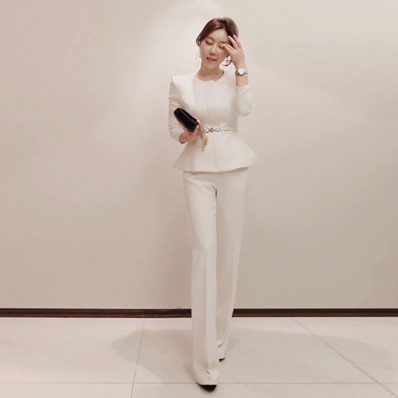 2018 O-neck z długim rękawem jednolity kolor kobiety moda spodnie garnitury Peplum Blazer długie spodnie garnitur damski elegancki OL znosić płaszcz 1
