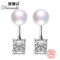 Dainashi Silver Square High Quality Special Counter Real Natural Pearl Stud Earrings Top Brand Fine Jewelry