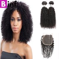מכירה חמה ברזילאי קינקי מתולתל 4 חבילות עם סגירה שיער BINF 100% שיער אדם חבילות עם סגירת סגר קינקי מתולתל חבילות
