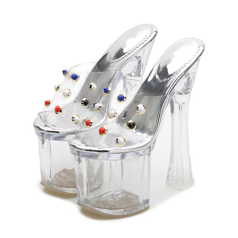 Haut Mode Clair a0057 Pantoufle Pour Transparent Pvc Sexy De Talons Gladiateur Effacer Ms Sandales Femmes D'été Chaussures TzZPfzap