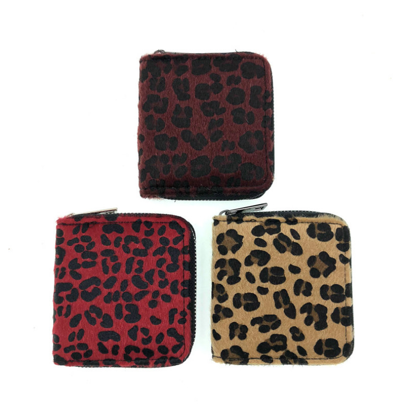 New Leopard Mini Wallet Women Fashion Coin Purse Short Students Lovely Small Credit Card Holder Zipper Around Money Bag for Girl image