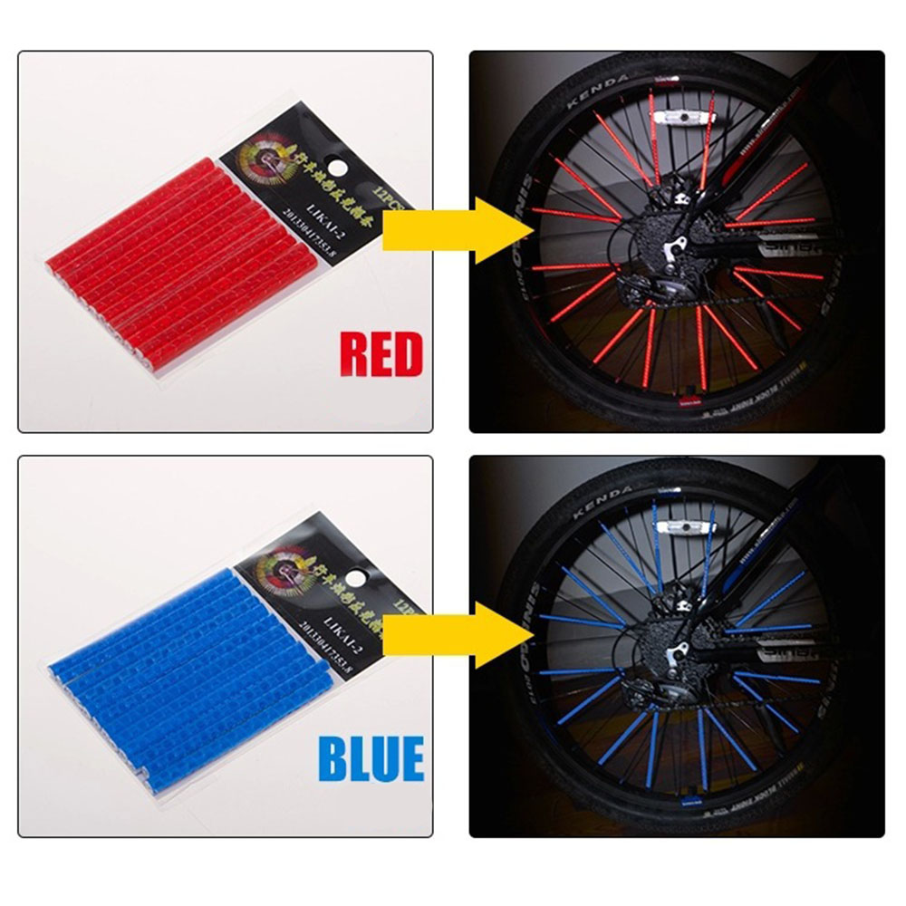 12PCS 75mm Bicycle Light Reflective spoke Mountain Bike Riding Wheel Rim Spoke Mount Clip Tube Warning Strip Outdoor Supplies in Bicycle Spoke from Sports Entertainment