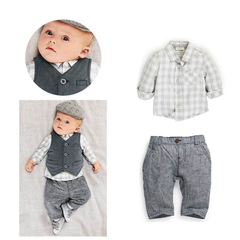 Baby Boy Formal Suit Handsome Baby Clothes China Spring Fashion Children Suits Three Piece Shirt+Vest+Pants Baby Clothes Set 2pcs set baby clothes set boy