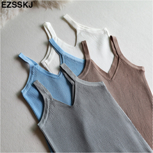 Summer Sexy Crop Top Knitted Tank top Women Blouse Soft V Neck Tops Female Sleeveless Vest Casual streetwear basic Camis