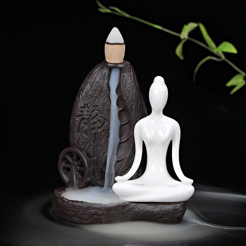 1Pcs Creative Home Decor Ceramic Yoga Girl Censer Backflow Incense Cones Burner Towel Incense Holder Use in Office Teahouse