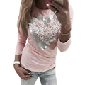 YJSFG HOUSE Long Sleeve 2017 Spring Autumn Heart Pattern Printed T Shirt Casual Sexy Lace Patchwork Pink Tops Tee Shirt Femme