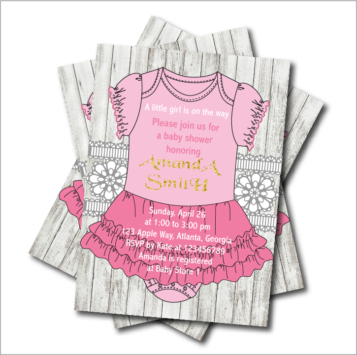20pcs/lot Baby Girl Pink Dress Baby shower Invitations Princess ...