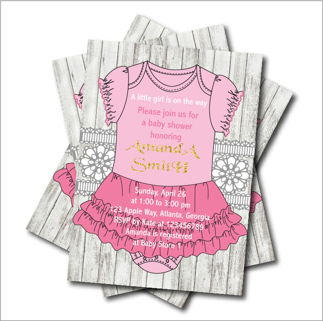 20pcs/lot Baby Girl Pink Dress Baby shower Invitations Princess