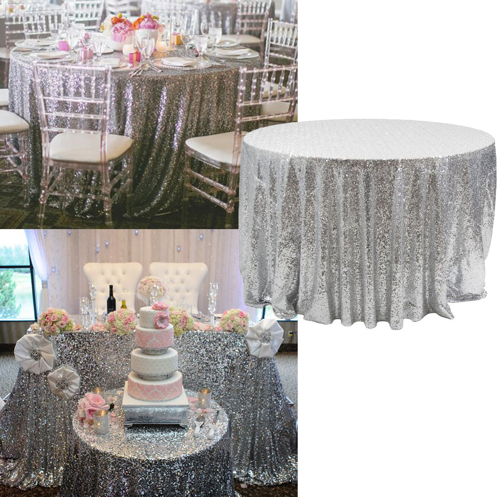 Bling Sequin Round Tablecloth Colorful Table Cloth 120inchRound Decoration  For Wedding Party Gold Silver Champagne New BITFLY In Party DIY Decorations  From ...