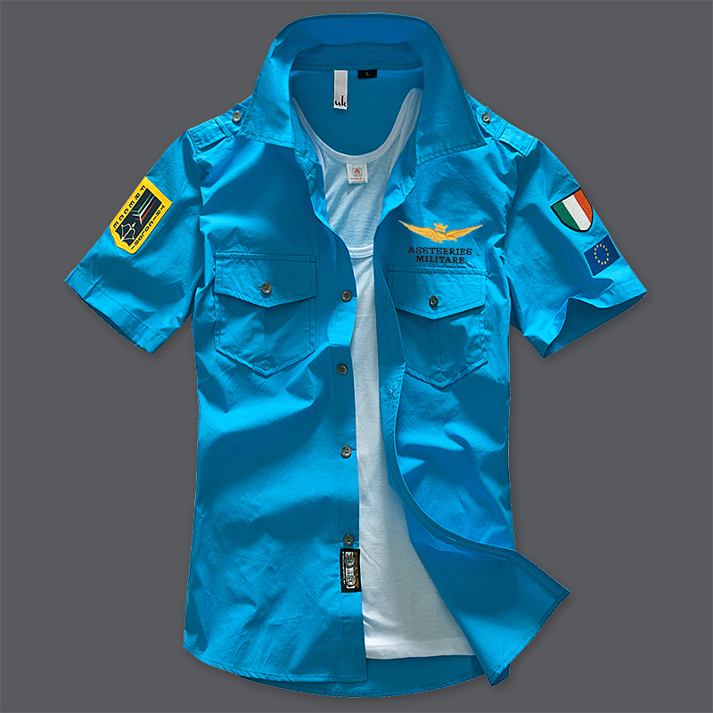 ASSTSERIES Summer Mens Air Force One Pilot Shirt Cotton Military Casual Shirt High Quality Solid Color Short Sleeve Shirt S-4XL