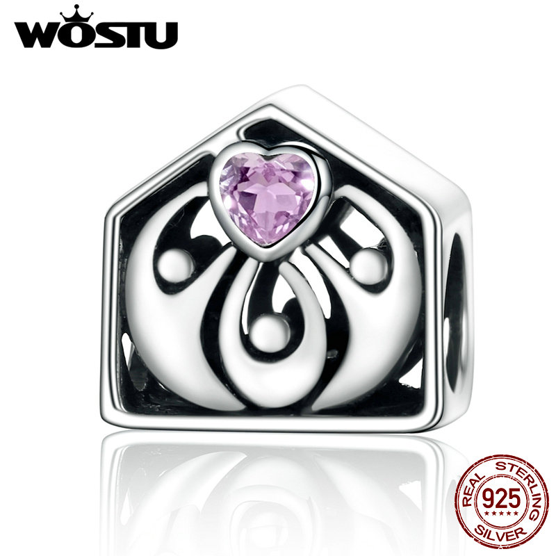 WOSTU New Arrival 925 Sterling Silver My Lovely Family Beads Fit Original WST Charm Bracelet Jewelry Gift CQC255 wostu 100% 925 sterling silver i love my family sweet home charm bracelet bangle for women cute girl lovely jewelry gift cqb810