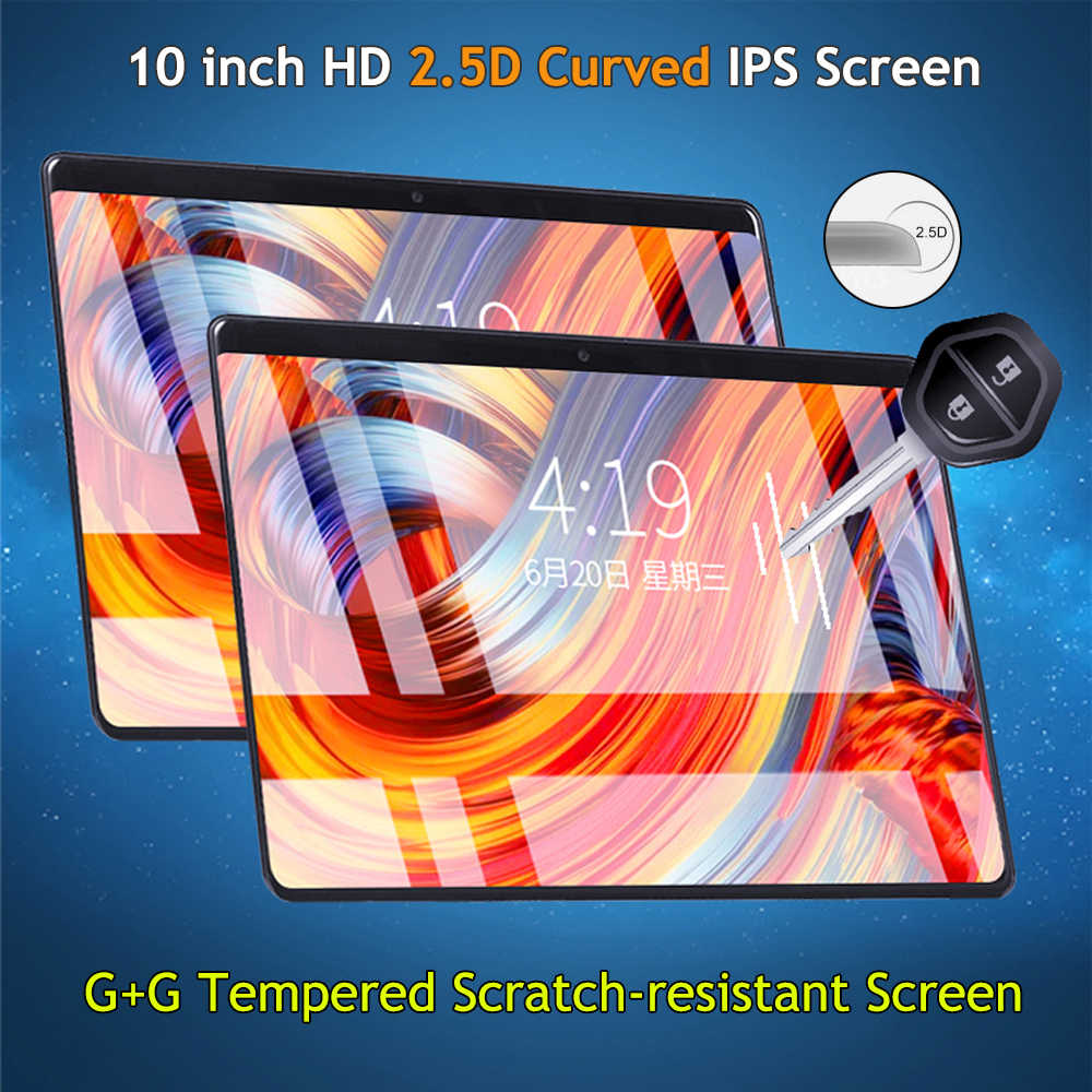 2019 10 inch Tablet Octa Core Android 8.0 IPS 1280X800 2.5D Glass 4GB RAM 64GB ROM Dual Camera Google Play Store Wifi GPS tablet