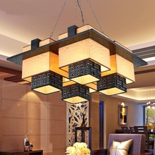 Modern Chinese Pendant Lights Hotels Restaurants Lamps Living Room Antique Solid Wood Sheepskin LU826476