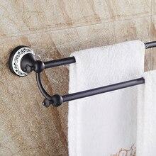 Двойной уровень Меди Ванная Комната настенные вешалка для полотенец держатель ванной полки хранения черный дизайн аксессуары для ванной комнаты бесплатная доставка SY-090R