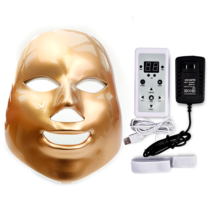 Gold 7 Color Led Beauty Mask Led Facial Mask Whitening Led Light Therapy Photon Therapy Light Facial Skin Rejuvenation Equipment 7 color led mask photon light skin rejuvenation therapy facial mask photon photodynamics beauty facial peels machine skin care
