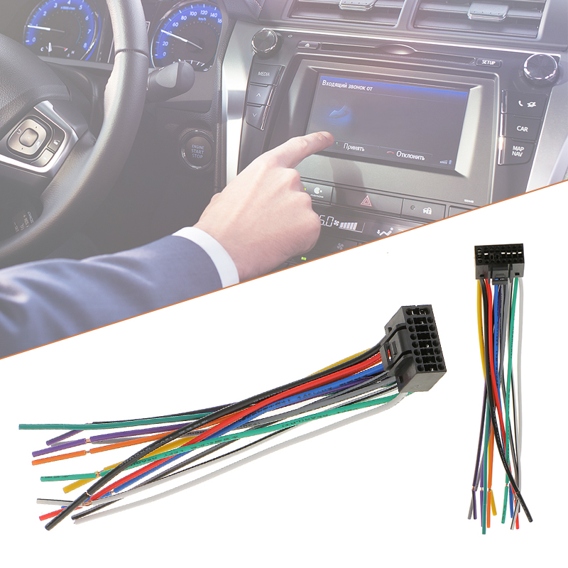 1 Pcs 16cm Car Radio Stereo Wire Harness Plug Cable With 16 Pin Connector For Kenwood Meets EIA Color Codes-in Cables, Adapters & Sockets from Automobiles & Motorcycles