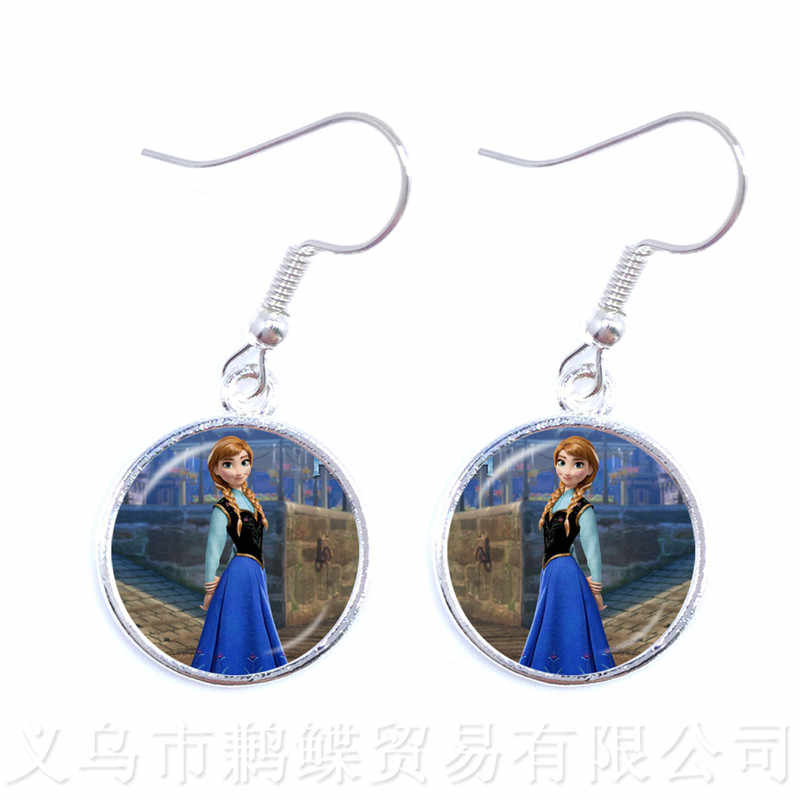 2018 New Princess Anna And Elsa Trendy Earrings Glass Cabochon Princess Snow Queen Drop Earrings For Women Girls