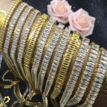 Rectangular zirconium claw chain gold dense tip bottom transparent diamond costume accessories