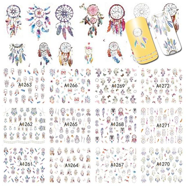 12 diseños de pegatinas para manicura Dream Cather, calcomanías de transferencia al agua, juegos de tatuajes de uñas, esmalte de Gel, A1261 1272 de uñas DIY