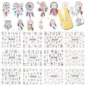 Image 1 - 12 wzorów Dream Cather Nail naklejka artystyczna woda kalkomanie transferowe Nail tatuaże zestawy żel polski DIY Charm Manicure folie A1261 1272