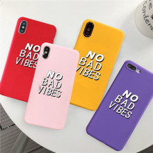 GYKZ Funny Letter No Bad Vibes Phone Case For iPhone 7 XS MAX XR X 8 6 6s Plus Fashion Trend Soft TPU Back Cover