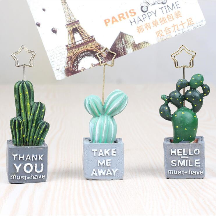 1 Piece Creative Cactus Plants Resin Message Photo Card Paper Clip Memo Note Holder Home Office Desk Decorations Birthday Gift