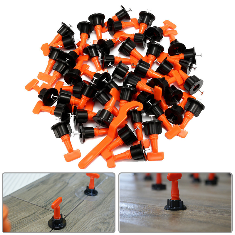 50PCS Tile Leveling System Kit 1.6mm Gap Reuse Wall Floor Clip Leveler Ceramic 3 17.5mm Thickness Construction Tools For Tile
