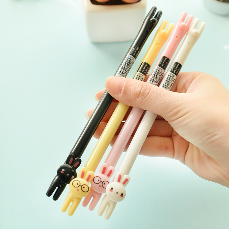 48 pcs/lot Korean stationery Cute Rabbit 0.5mm Black Ink Signature gel pen Kids gift office school writing supplies escolar