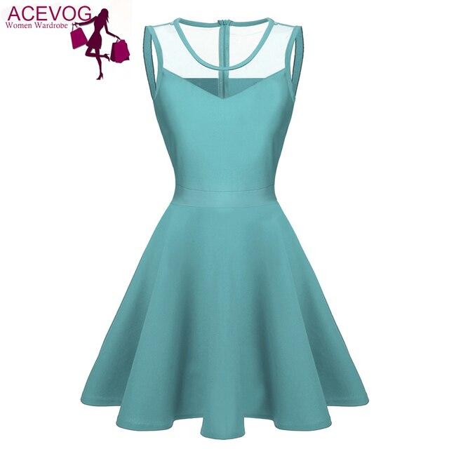 Acevog mujeres elegantes vestidos de verano vestidos 2017 sexy lady 4 colores de malla de cintura alta plisada longitud de la rodilla casual columpio dress