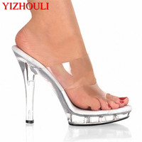 YIZHOULI 5 Inch High Heels Slippers Plump Crystal Shoes Sexy Pole Dancing Shoes Platform Women's Shoes Dance Shoes N 036