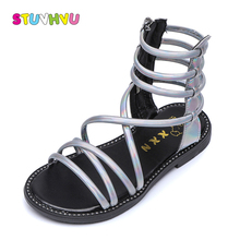High Help Girls Sandals 2019 Summer New Childrens Fashion Princess Shoes Soft Bottom Leather Roman for Boots