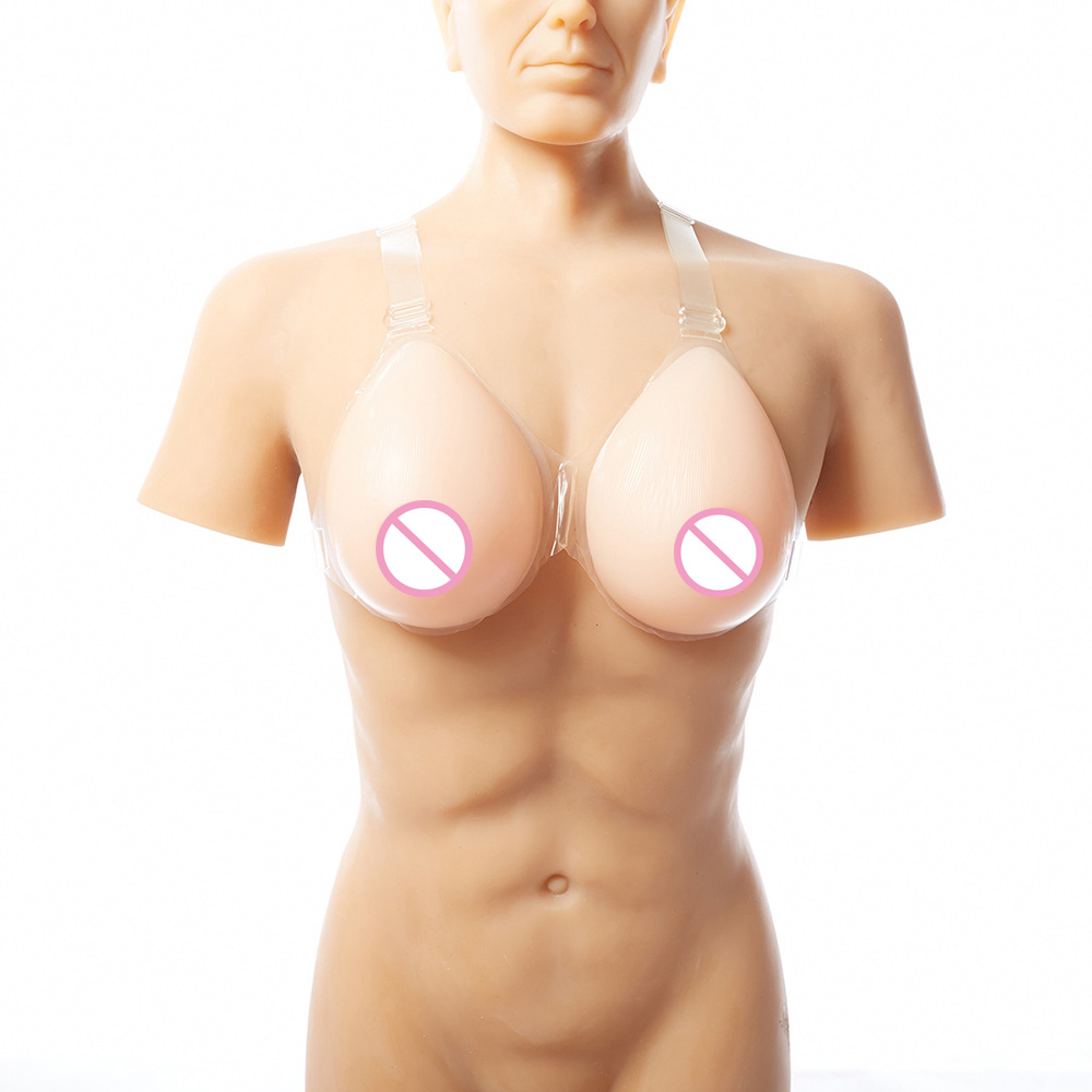 Breast Form For Men Crossdresser Costume With Straps Transvestite Clothing CD Form 600g/pair B Cup Beige 1 pair gg cup nude skin tone 2800g silicone breast form with straps